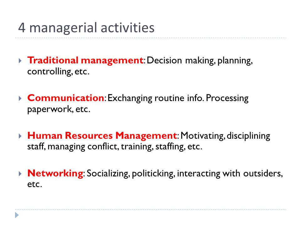 4 managerial activities