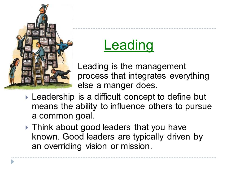 Leading Leading is the management process that integrates everything else a manger does.