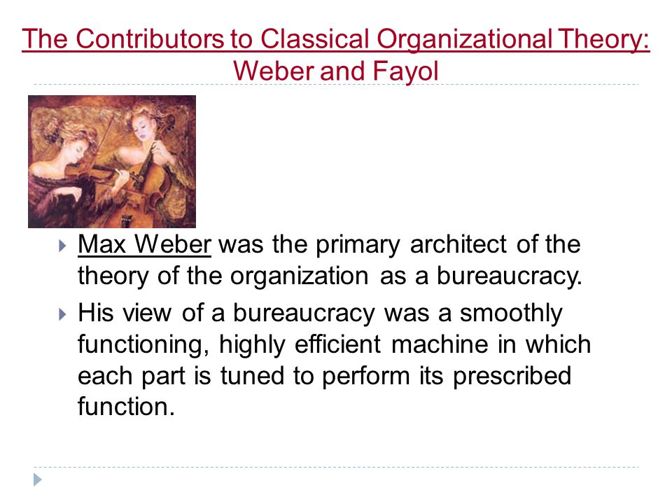 The Contributors to Classical Organizational Theory: Weber and Fayol
