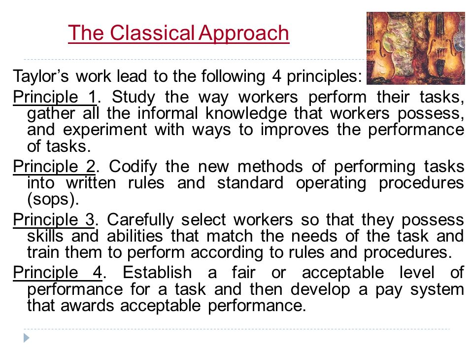 The Classical Approach