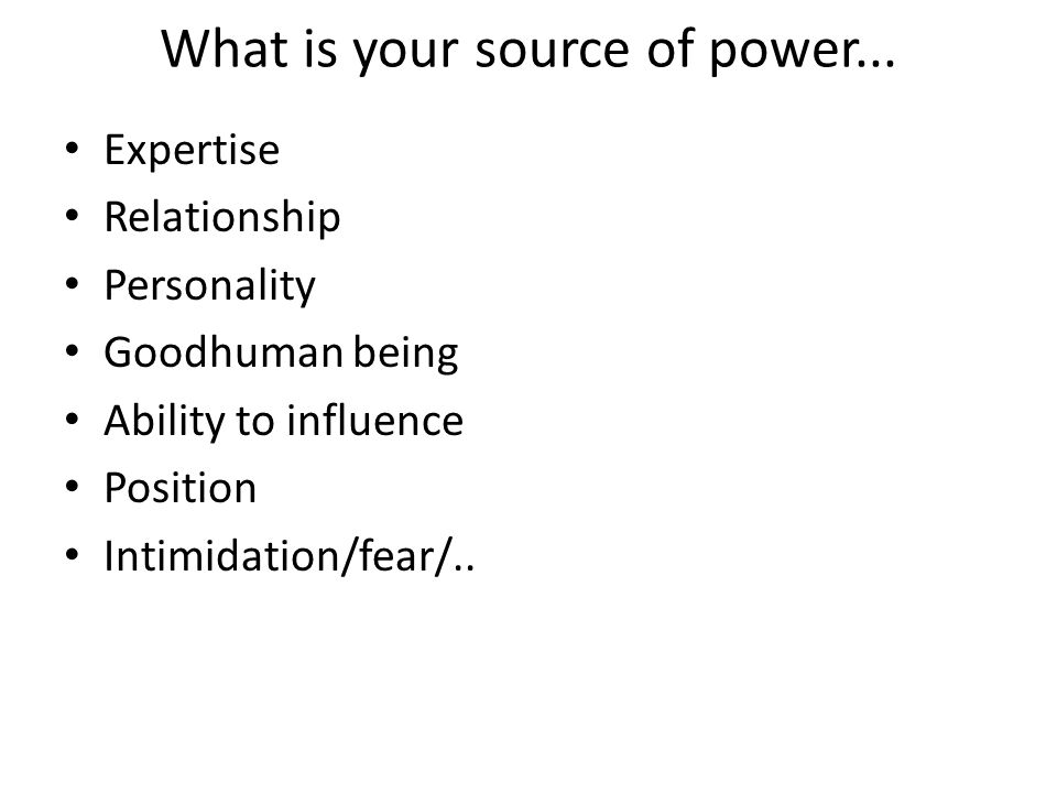 What is your source of power...