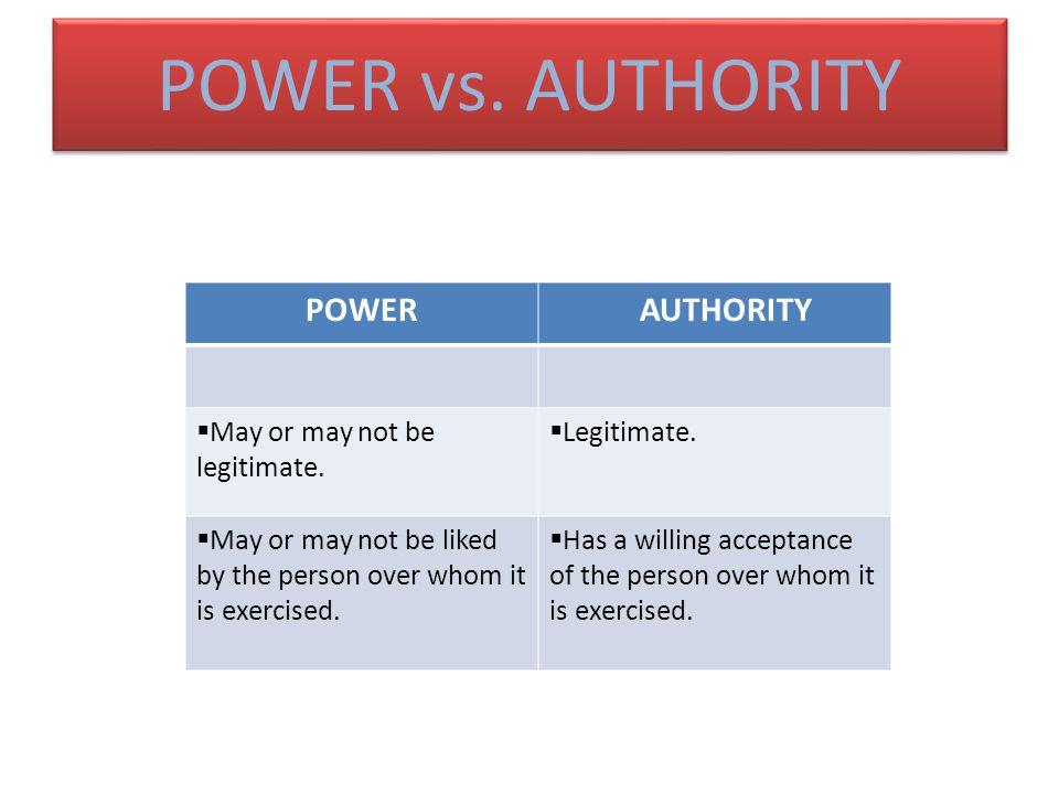 POWER vs. AUTHORITY May or may not be legitimate. Legitimate.