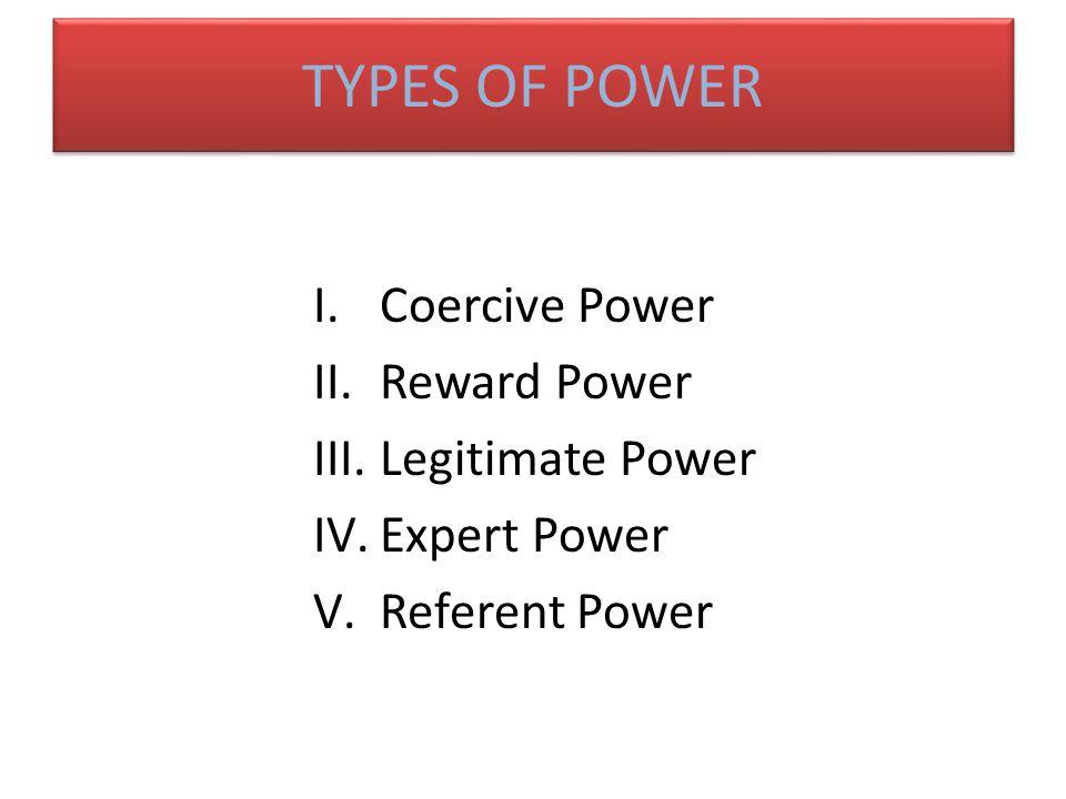 TYPES OF POWER Coercive Power Reward Power Legitimate Power