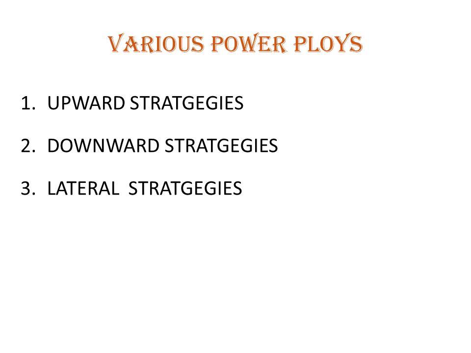 VARIOUS POWER PLOYS UPWARD STRATGEGIES DOWNWARD STRATGEGIES