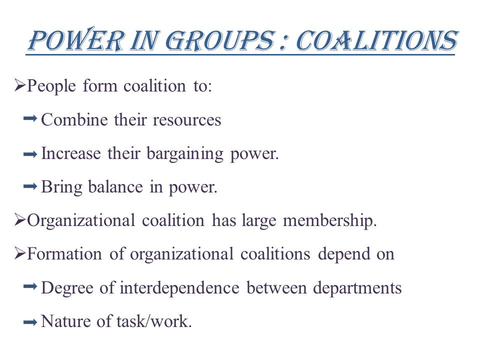 Power in groups : coalitions