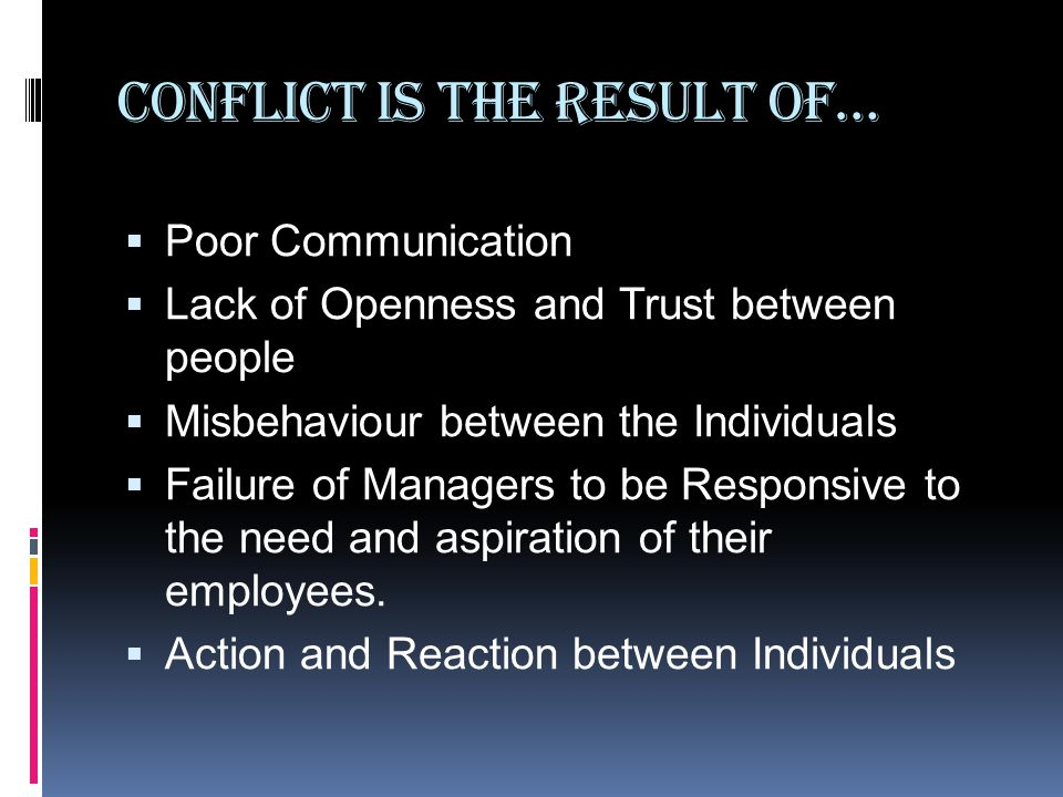 Conflict is the Result of…