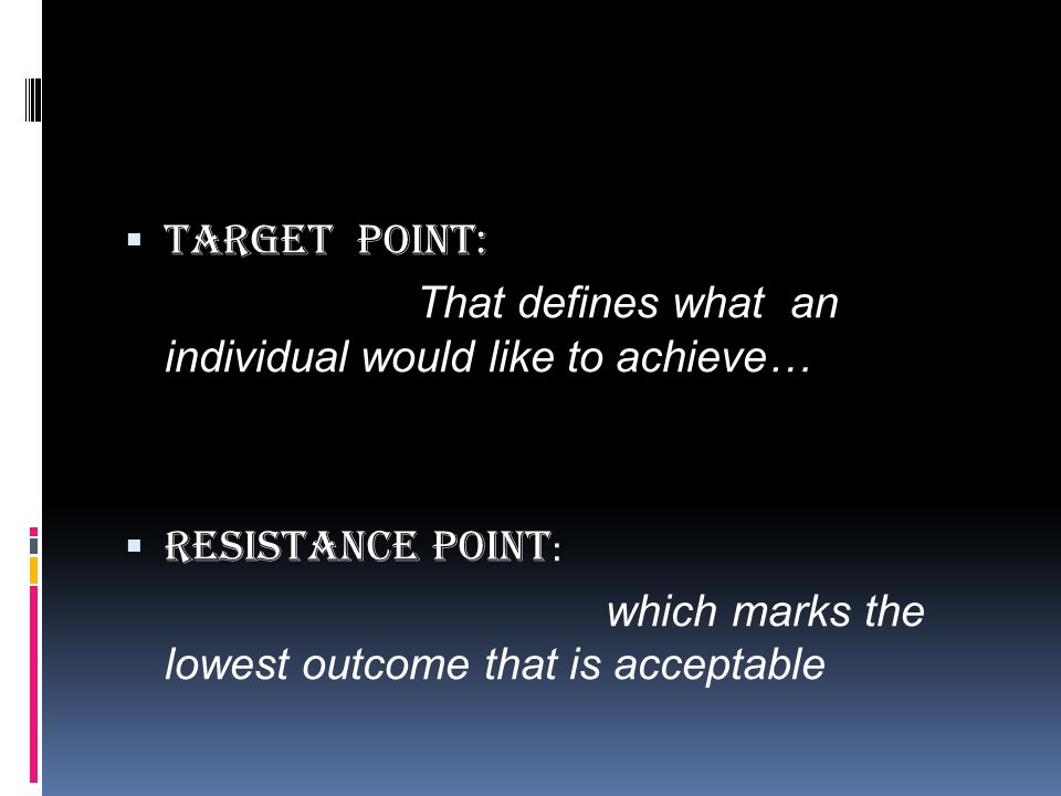 Target point: That defines what an individual would like to achieve… Resistance Point: which marks the lowest outcome that is acceptable.