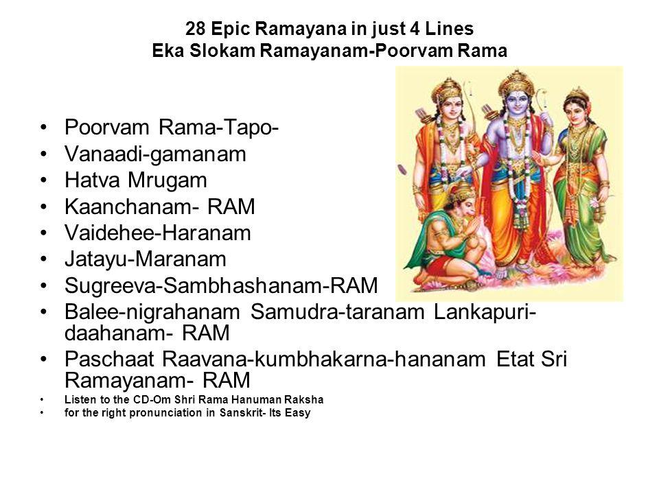 28 Epic Ramayana in just 4 Lines Eka Slokam Ramayanam-Poorvam Rama