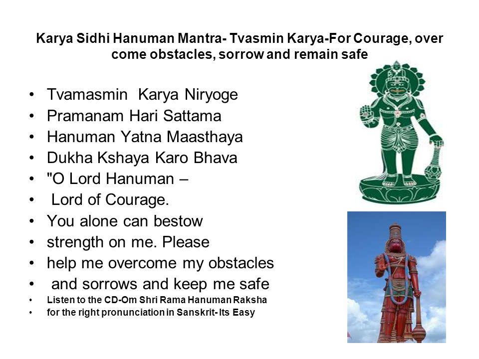 Tvamasmin Karya Niryoge Pramanam Hari Sattama Hanuman Yatna Maasthaya