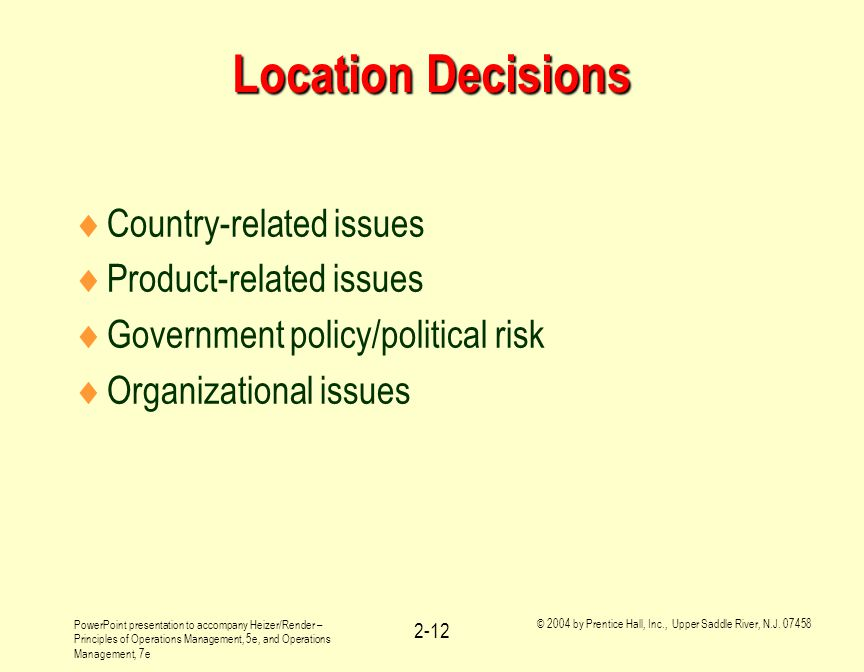 Location Decisions Country-related issues Product-related issues