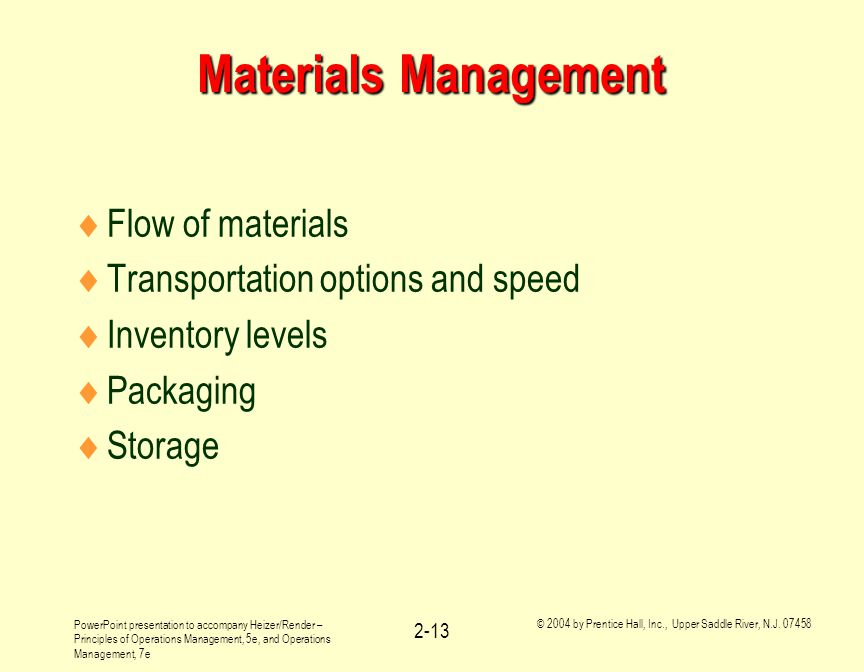 Materials Management Flow of materials