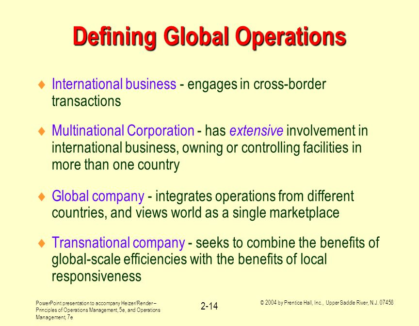 Defining Global Operations