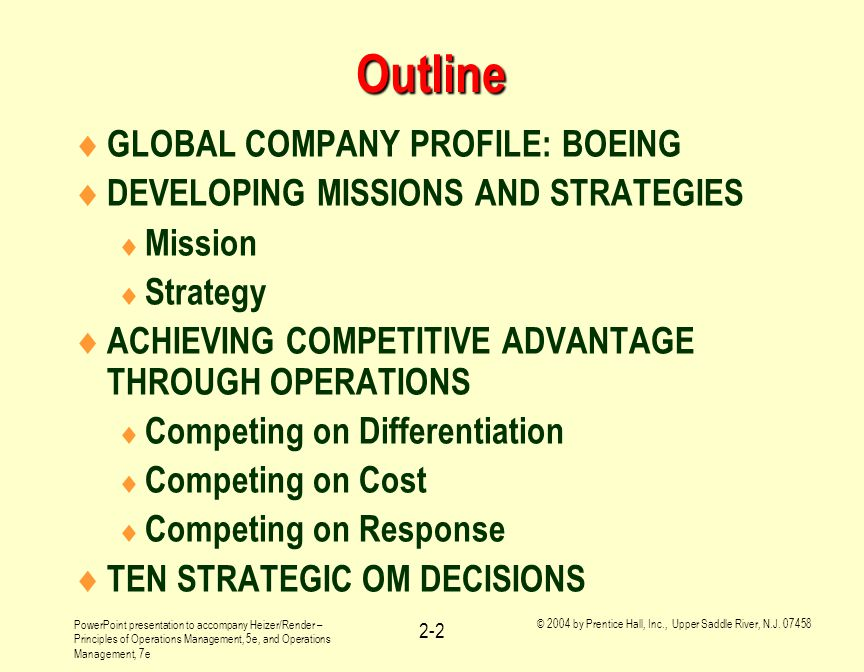 Outline GLOBAL COMPANY PROFILE: BOEING
