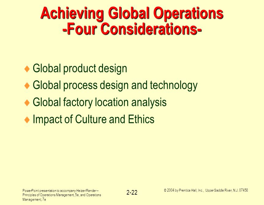 Achieving Global Operations -Four Considerations-