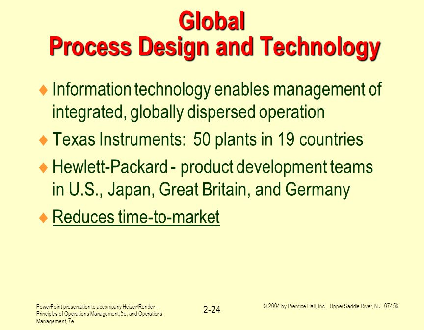 Global Process Design and Technology