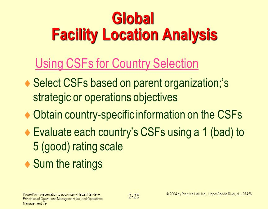 Global Facility Location Analysis