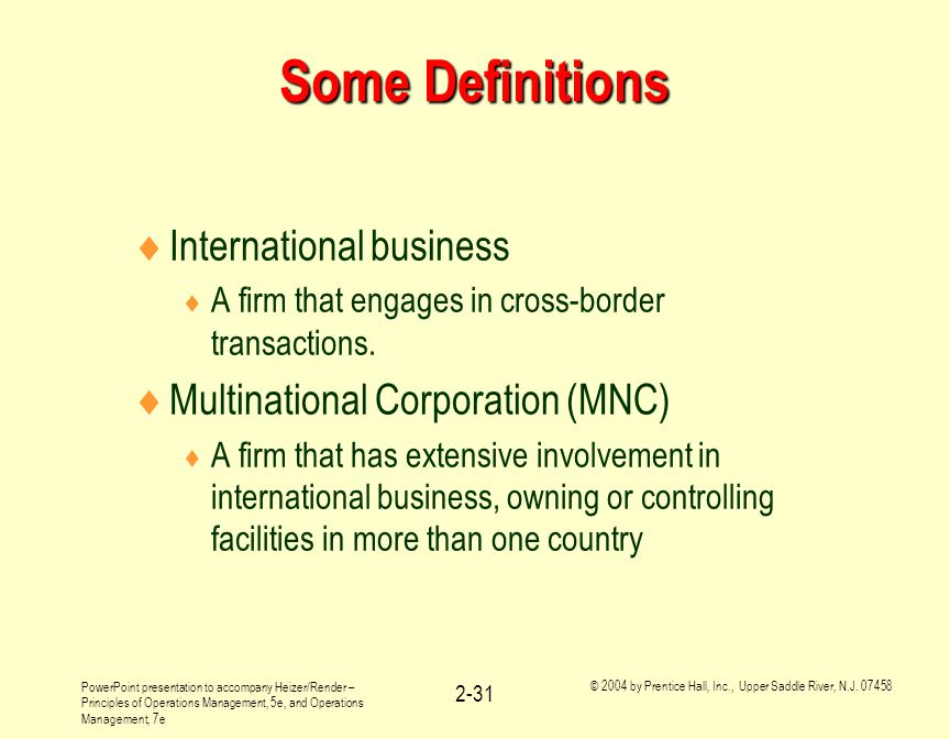 Some Definitions International business