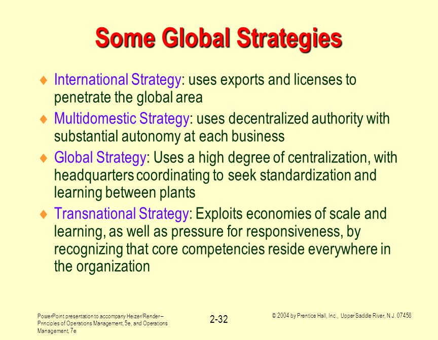 Some Global Strategies