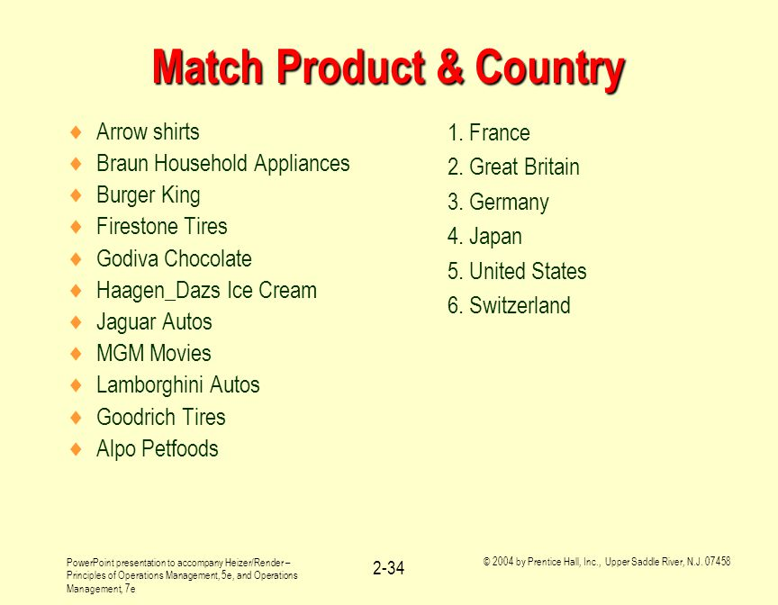 Match Product & Country