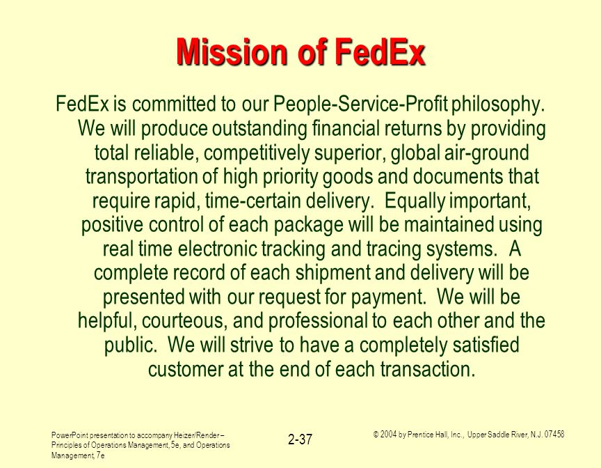 Mission of FedEx