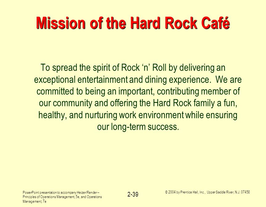 operations management of hard rock cafe Mba operations management - case study guides - 01b: hard rock cafe operations management, 12e (heizer/render/munson) company videos - hard rock cafe company videos hard rock cafe: operations management in services there is a short video (7 minutes) available from pearson and.