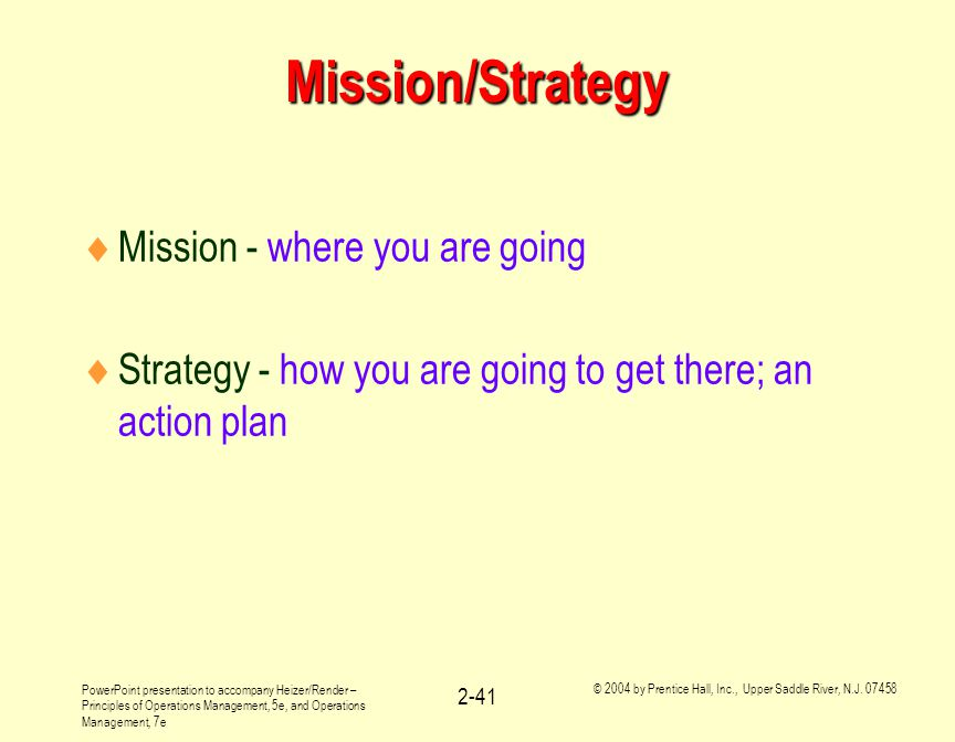 Mission/Strategy Mission - where you are going