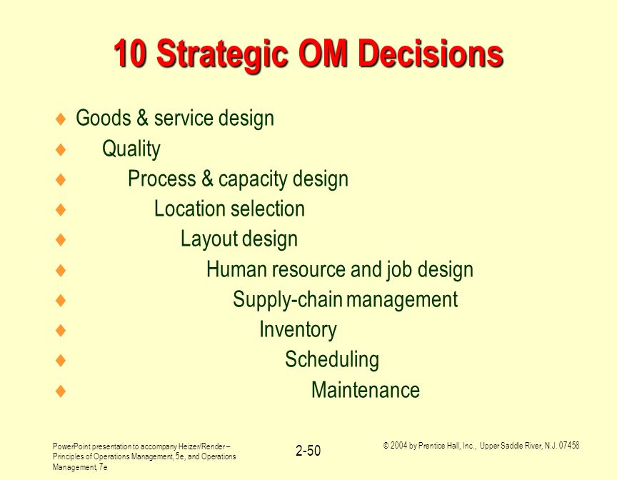 example of operations management decisions from the goal We have discussed above the two goals of financial management now the question is which one is the best or which goal should be followed in decision making certain objections have been raised against the profit maximization goal which strengthen the case for wealth maximization as the goal of financial decisions.