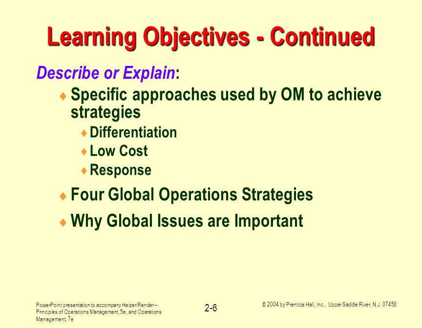 Learning Objectives - Continued