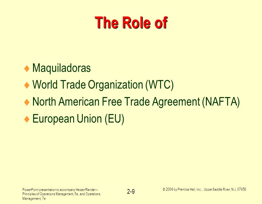 The Role of Maquiladoras World Trade Organization (WTC)
