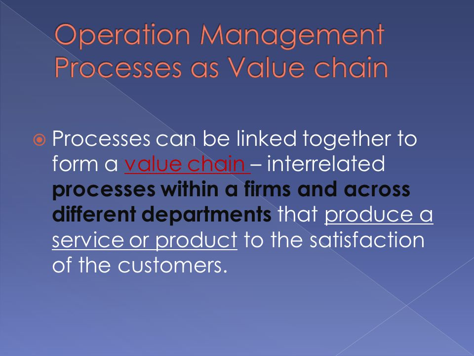 Operation Management Processes as Value chain
