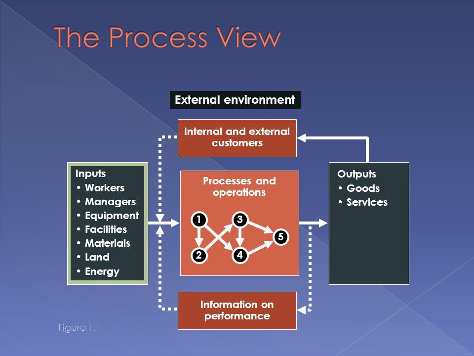 The Process View External environment Internal and external customers