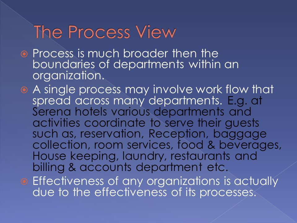 The Process View Process is much broader then the boundaries of departments within an organization.