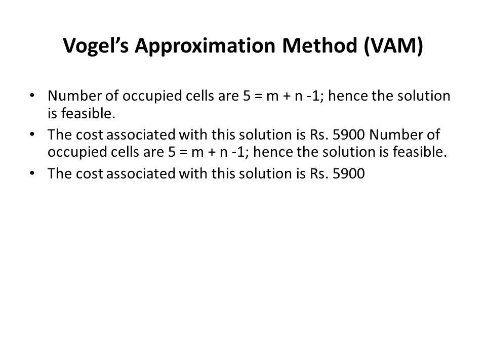 Vogel's Approximation Method (VAM)