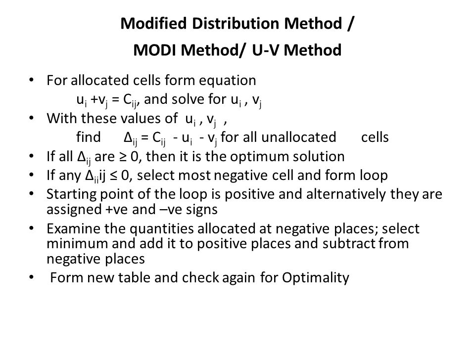 Modified Distribution Method / MODI Method/ U-V Method