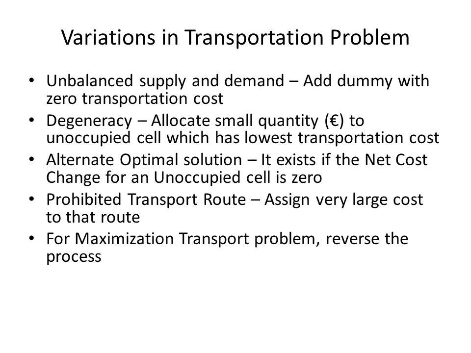 Variations in Transportation Problem