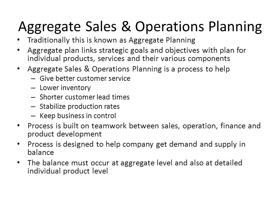 Aggregate Sales & Operations Planning