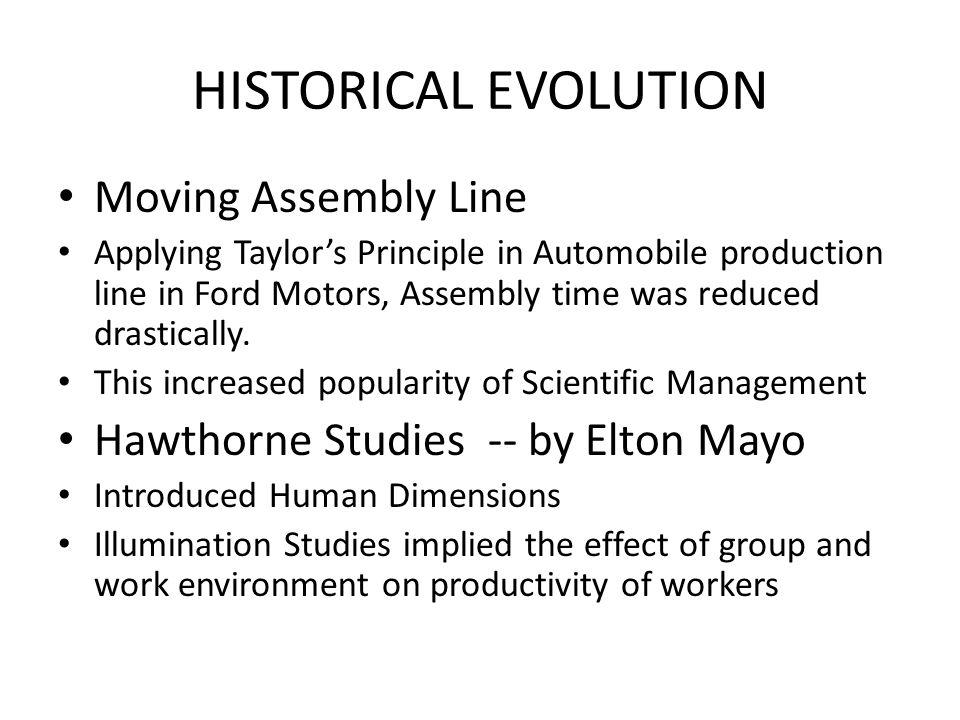 HISTORICAL EVOLUTION Moving Assembly Line
