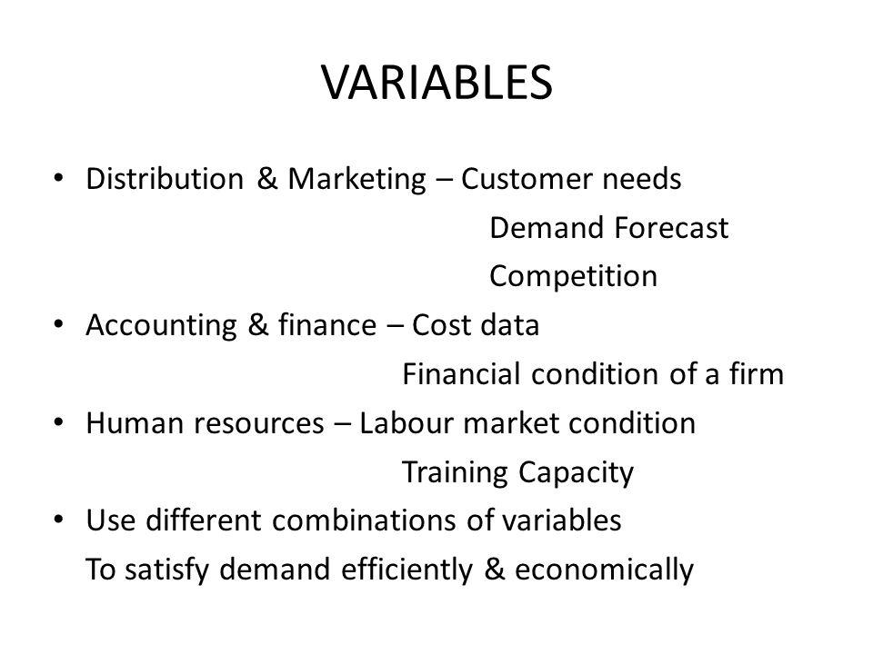 VARIABLES Distribution & Marketing – Customer needs Demand Forecast
