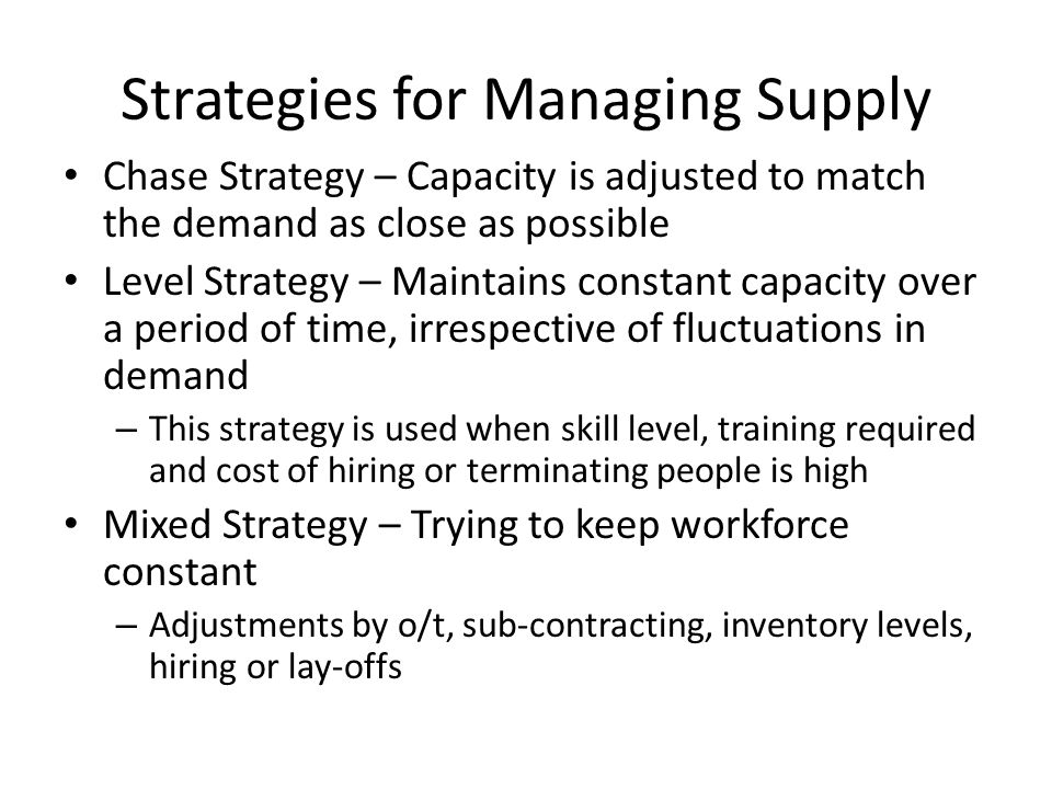 Strategies for Managing Supply
