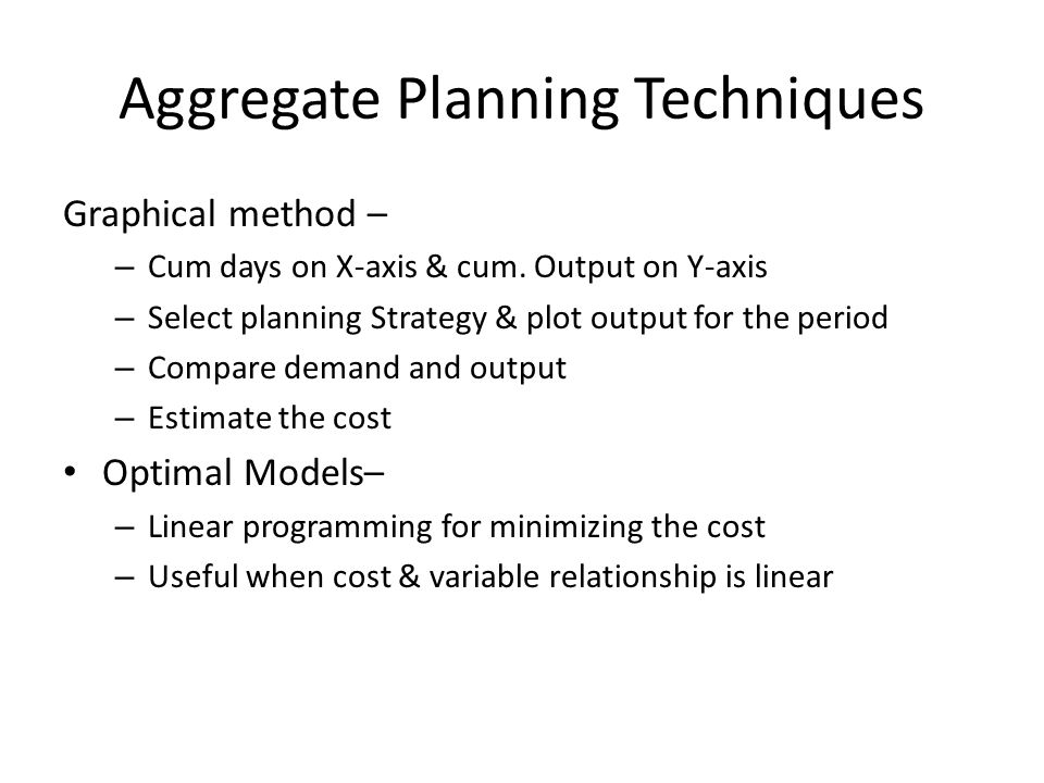 Aggregate Planning Techniques