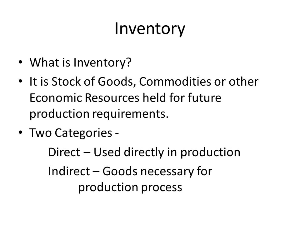 Inventory What is Inventory