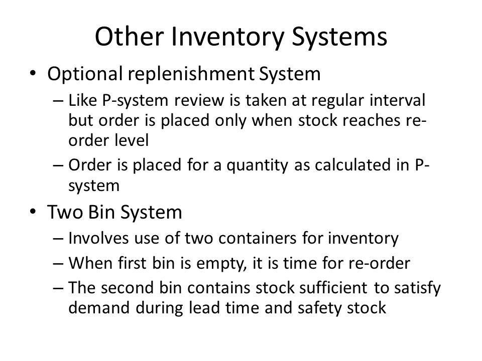 Other Inventory Systems