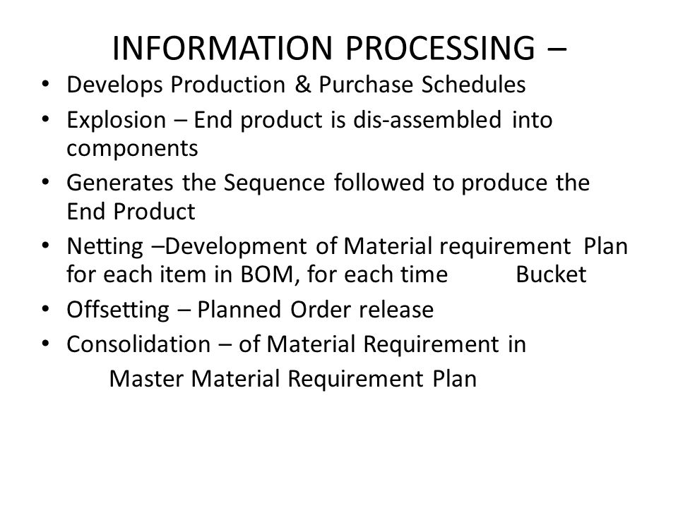 INFORMATION PROCESSING –