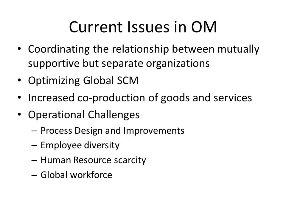 Current Issues in OM Coordinating the relationship between mutually supportive but separate organizations.
