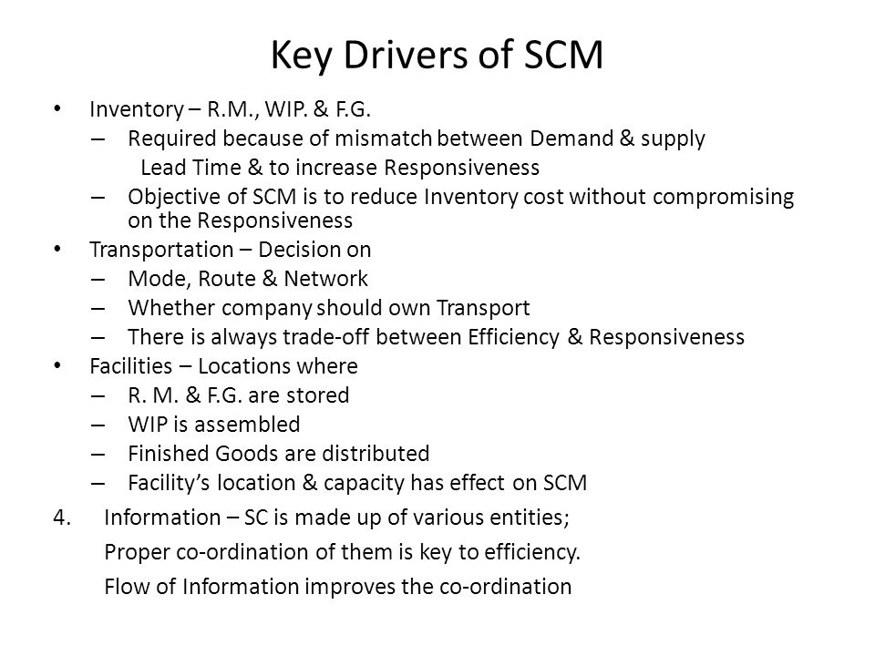 Key Drivers of SCM Inventory – R.M., WIP. & F.G.