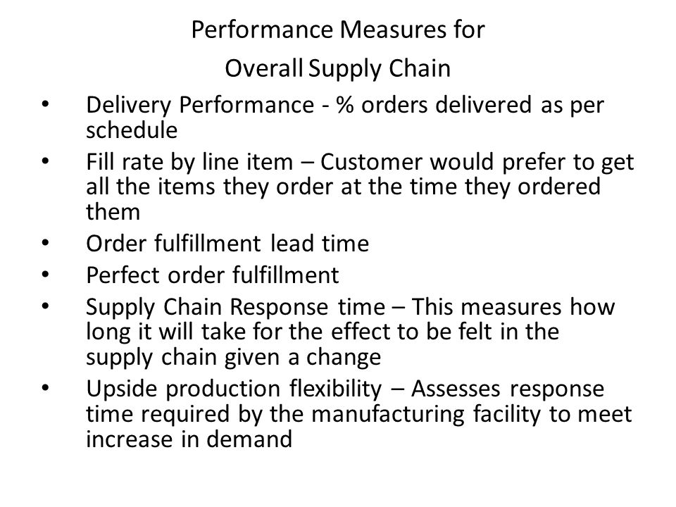 Performance Measures for Overall Supply Chain
