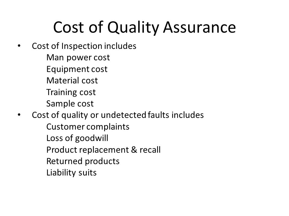 Cost of Quality Assurance