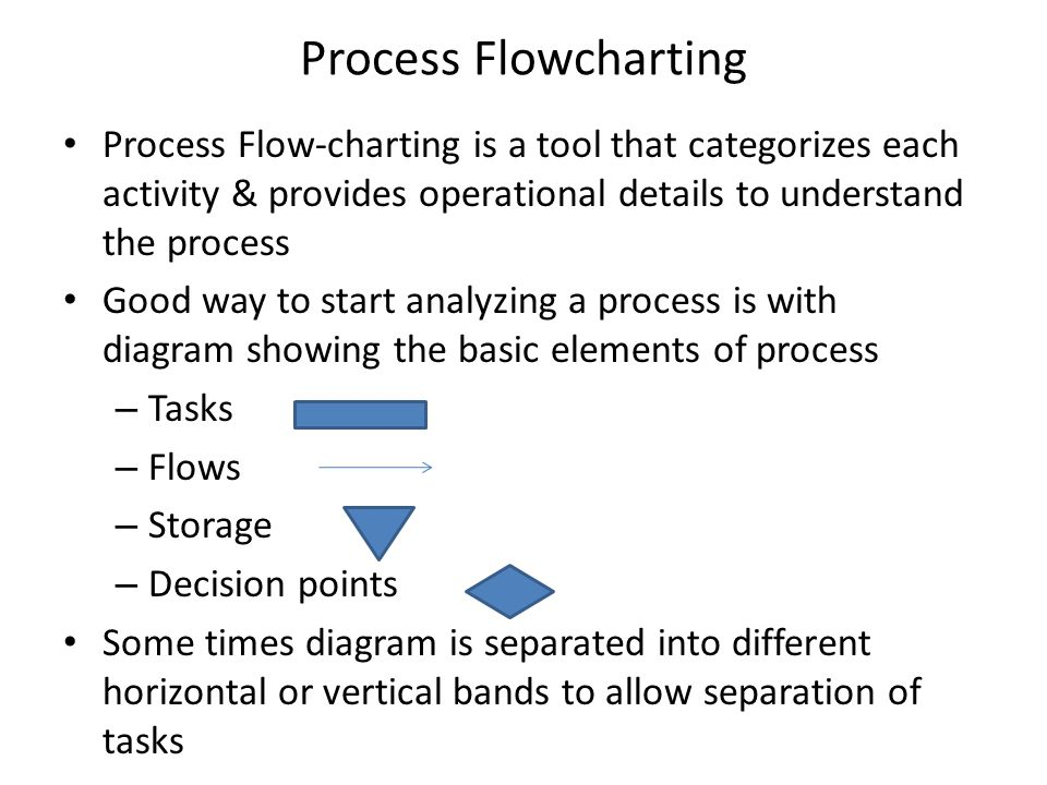 Process Flowcharting Process Flow-charting is a tool that categorizes each activity & provides operational details to understand the process.