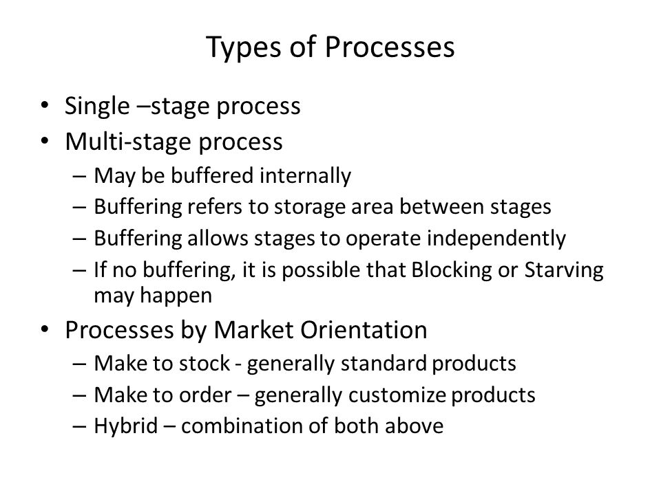 Types of Processes Single –stage process Multi-stage process