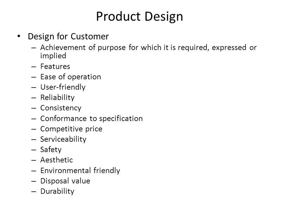Product Design Design for Customer